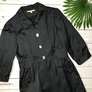 {Gianni Bini} sz S black 3/4 sleeve trench coat